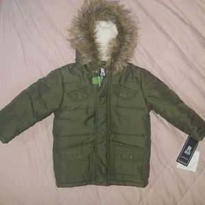24 month puffer jacket with faux fur
